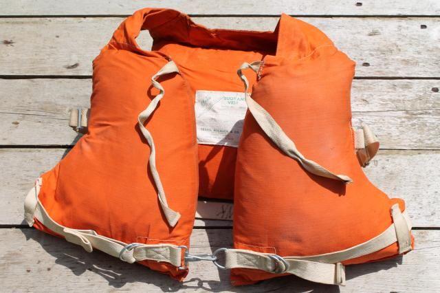 1950s Vintage Life Preserver Buoyant Vest Kapok Fill Orange