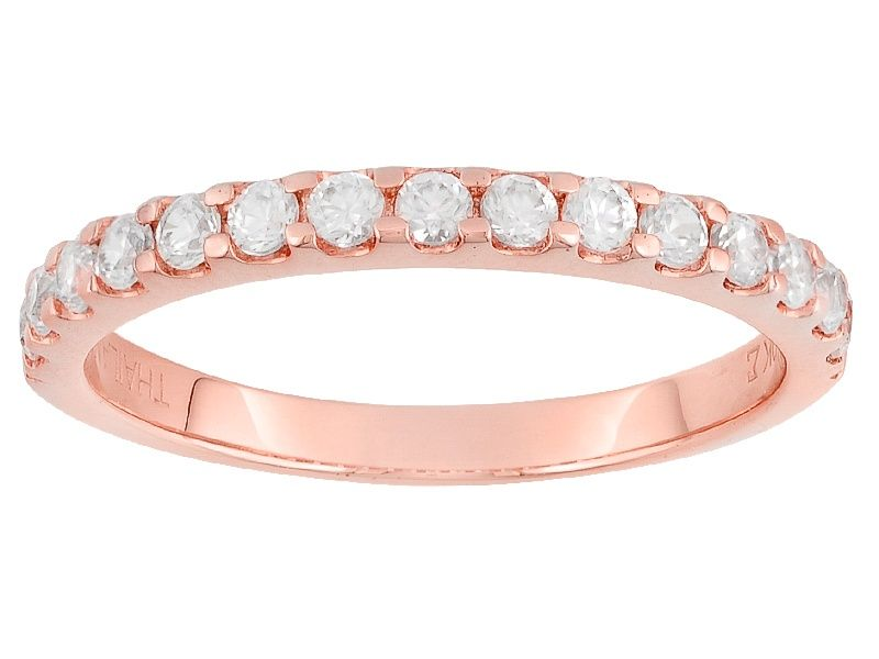 Pre Owned White Zircon 10k Rose Gold Ring 75ctw Pk004 Rose Gold Band Ring Gold Band Ring Gold Rings