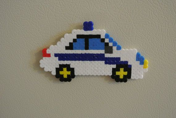 Police Car Hama Perler Fuse Melty Bead Magnet Diy Perler Beads Perler Beads Designs Perler Bead Art
