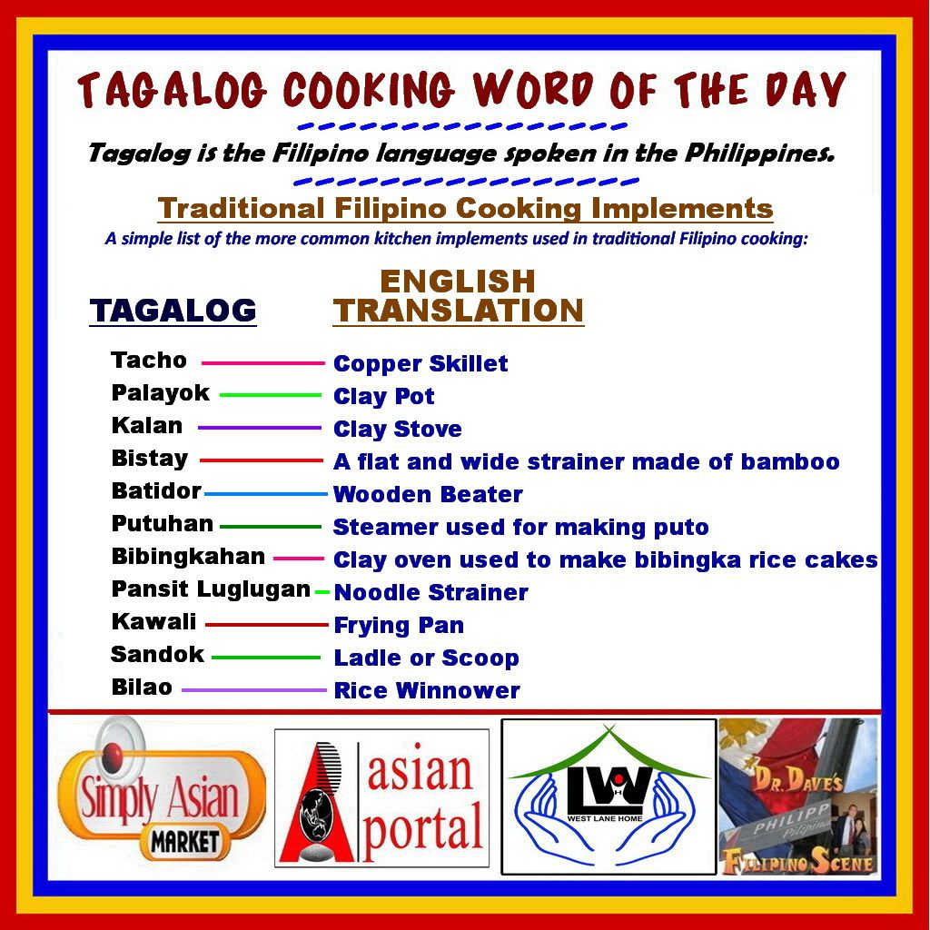 TAGALOG Cooking Word of the Day Traditional Filipino Cooking