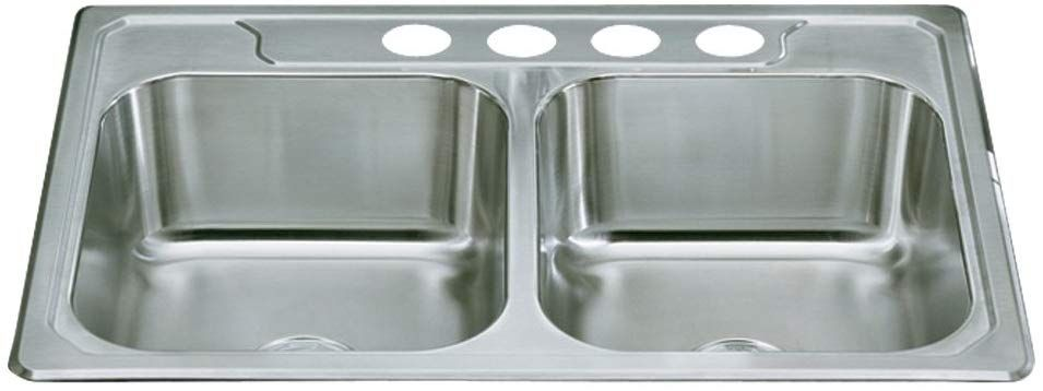 Sterling 14707 4 Na Middleton 33 Inch By 22 Inch Top Mount Double Equal Bowl Kitchen Sink Stainless Steel Stainless Steel Kitchen Sink Double Basin Sink Sink