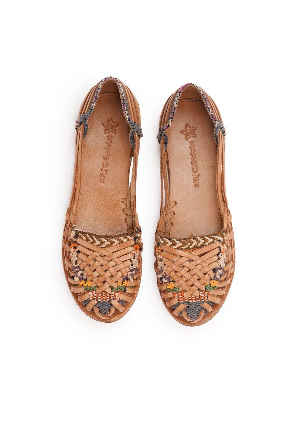 Sandali bassi intrecciati pelle