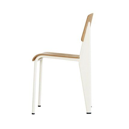 Chaise Chaise Standard Jean Prouve Vitra Prouve Blanche Et Assise En Bois Clair Icone Du Design Moderne Du Xxe Siecle Mobilier De Salon Chaise Design