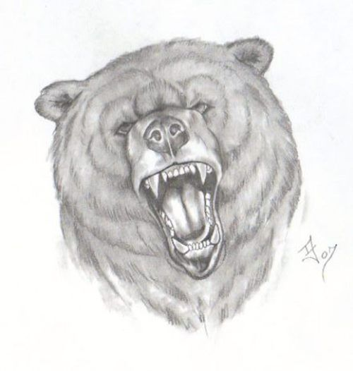 Roaring Bear Face Tattoo Drawing. TattoosHunter | artsy ... Bear Face Drawing