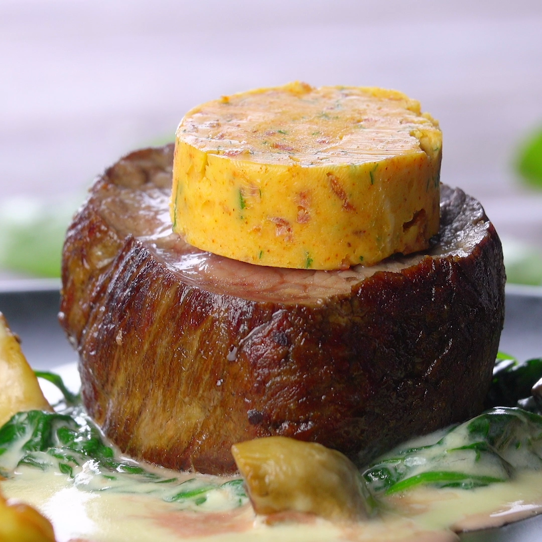Photo of So delicious! #beefsteakrecipe Tender fillet of beef with bacon butter, duchess …