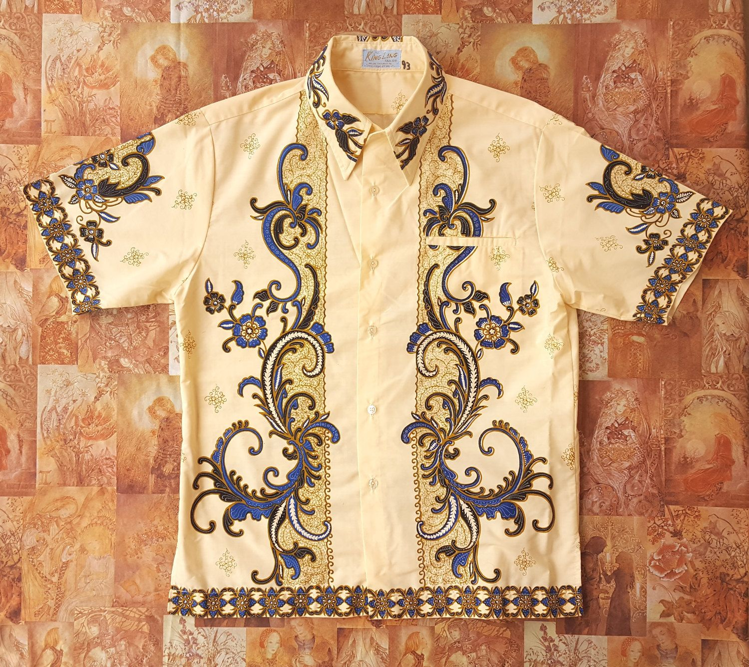 1970s Cream Floral Pattern Batik Shirt / Tribal Shirt