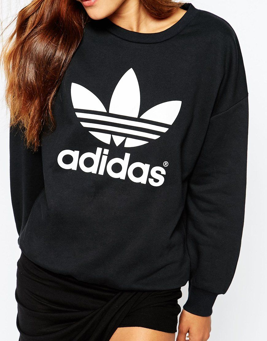 469affd3251481 Image 3 of adidas Originals Crew Neck Sweatshirt With Trefoil Logo ...
