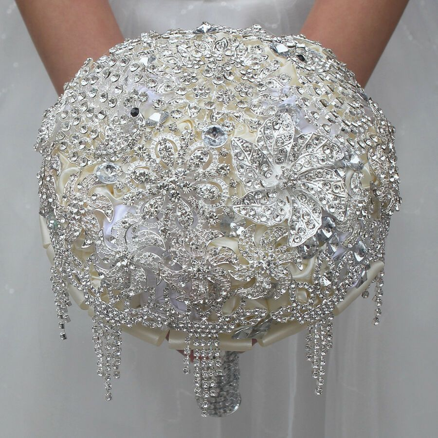 Luxury Silver Rhinestone Crystal Pearls Brooch Bride Wedding Bouquet Decor 18cm