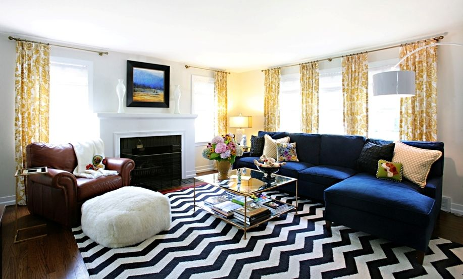 Blue Couch Yellow Curtains 3 Yellow Living Room Eclectic Living Room Living Room Inspiration