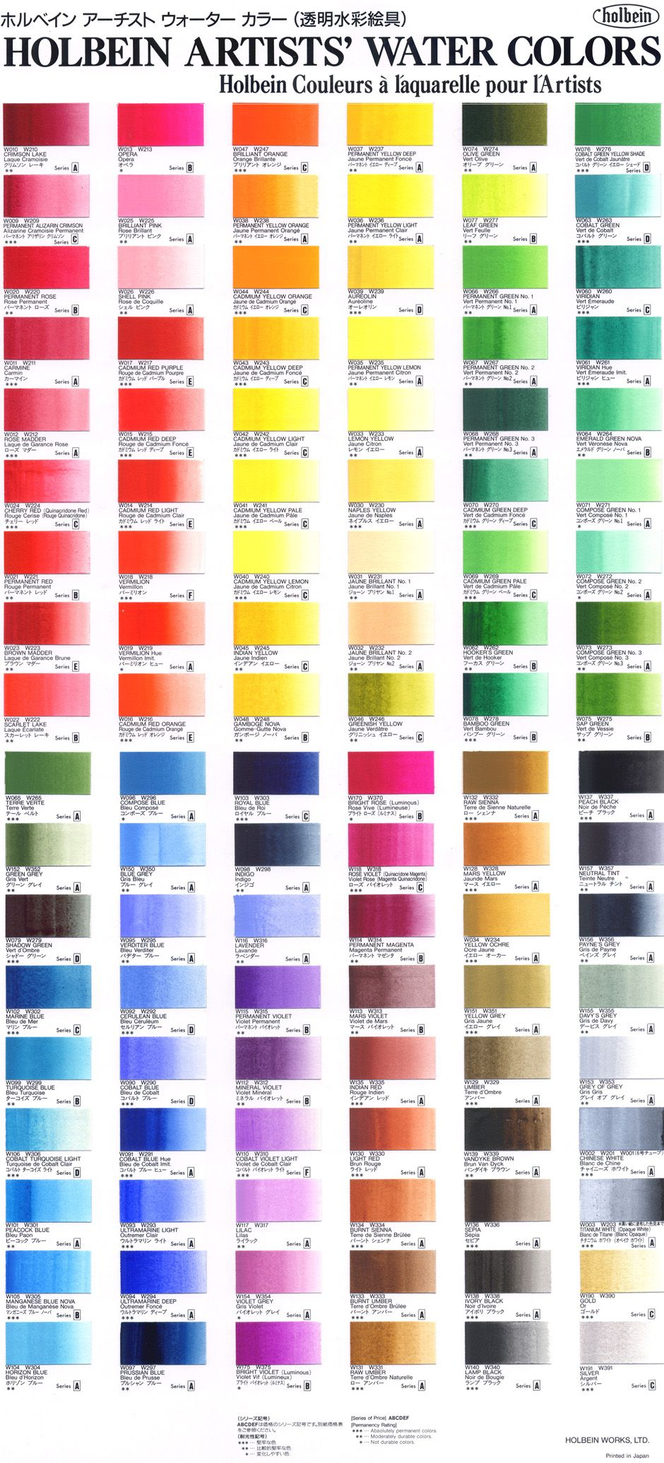 Watercolor artists websites - Holbein Artists Watercolour Colour Chart