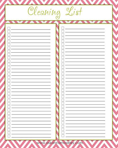 Free Printable Cleaning List From Ask Anna   Free Printables