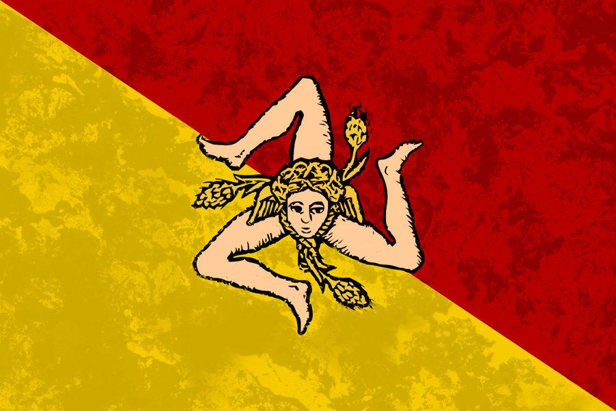 The flag of Sicily-My Maternal Grandfather came from here ,arrived in 1904 as a stowaway on a ship at age 14.