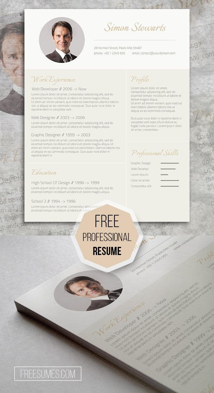 The Free Professional Resume Template available at