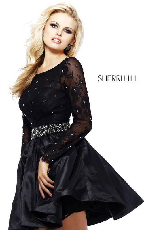 Black Sherri Hill 21215 Lace Sleeved Prom Dress | short homecoming ...