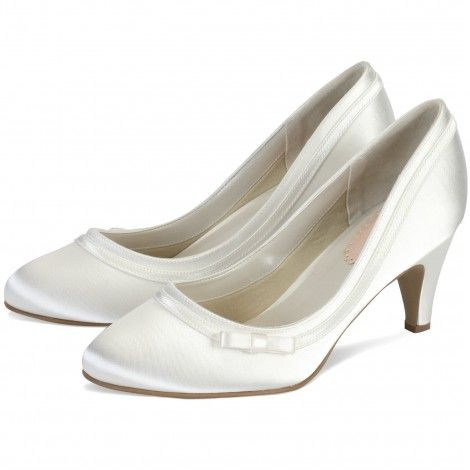 Dahlia By Pink For Paradox London Ivory Or White Dyeable Low Heel Vintage Wedding Occasion