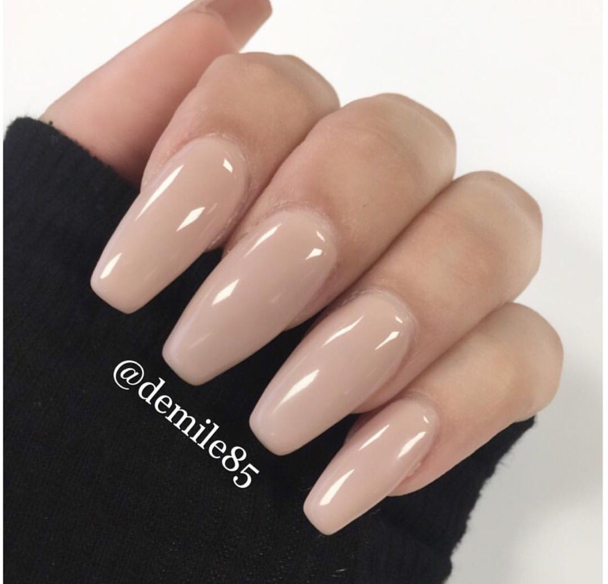 Cream Coffin Style Nails Nail Colors My Nails
