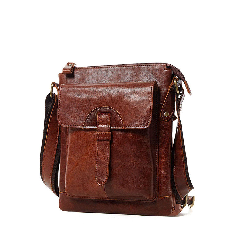 Mens Genuine Leather Briefcase Shoulder Bags Messenger Satchel Bag Brown You