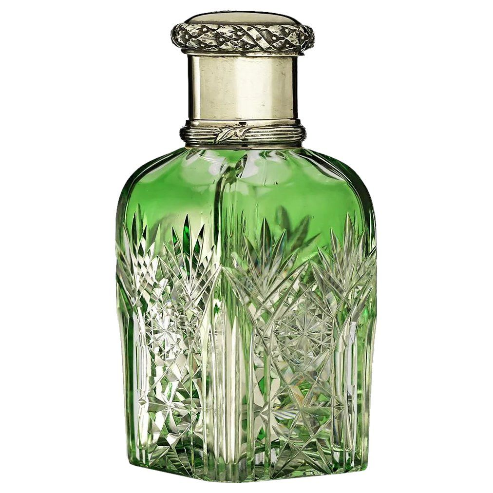 C french green overlay crystal dressing table scent perfume