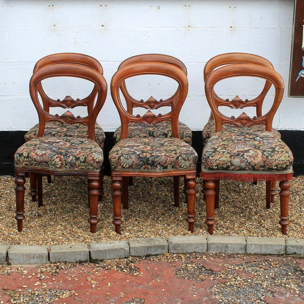 Charming Set Of Six Reproduction Antique Balloon Back Dining Chairs Origin Antiques