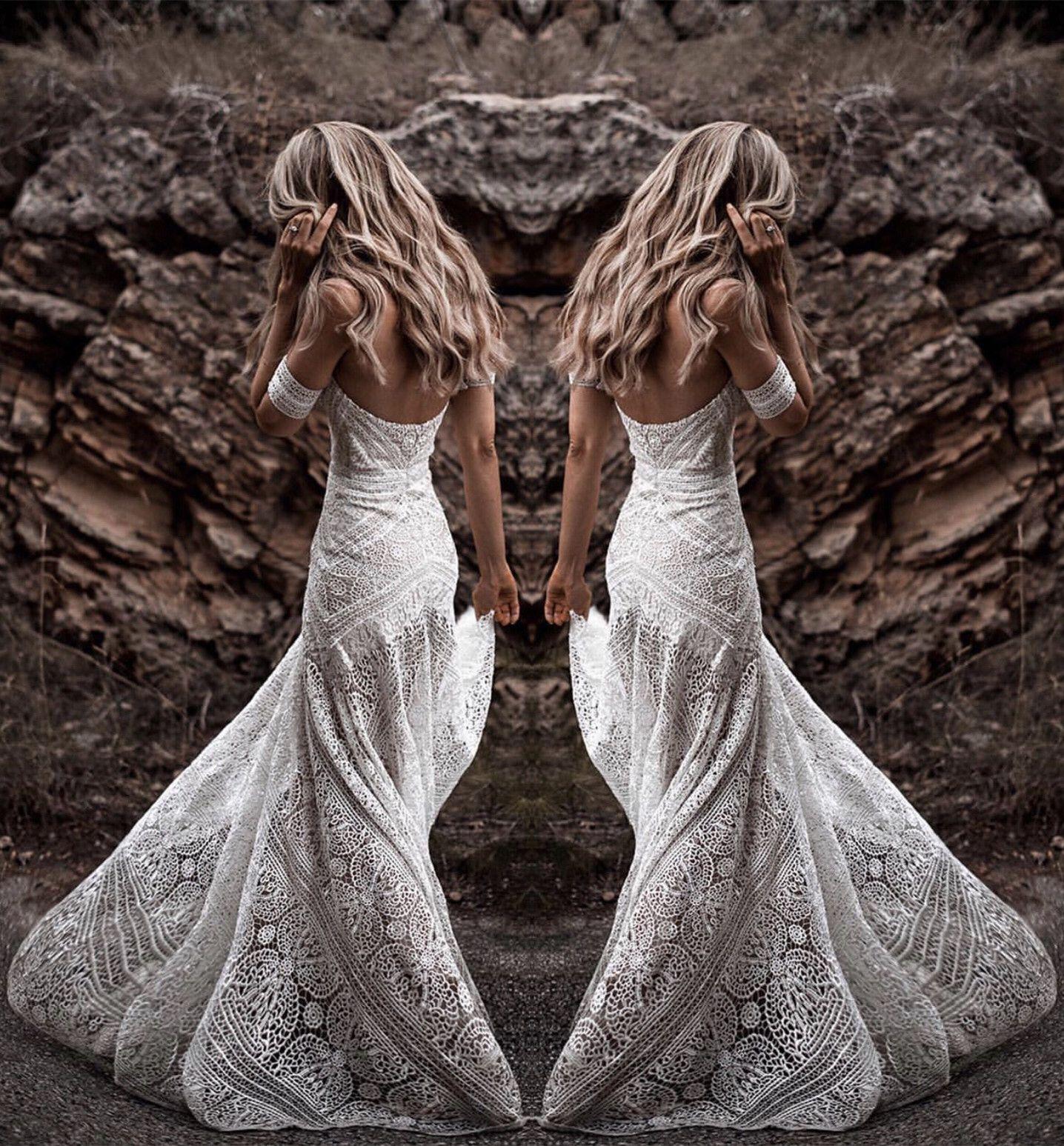 aacd5c8c78 Boho Style Summer Lace Mermaid Wedding Dresses in 2019
