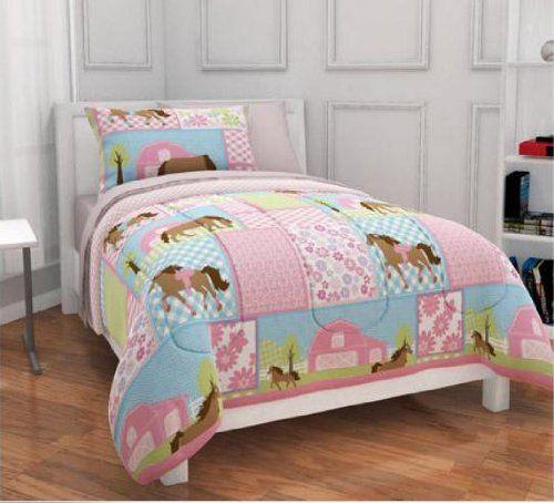 Girls Pony Country Horse Full Comforter Sheets Shams Set 7