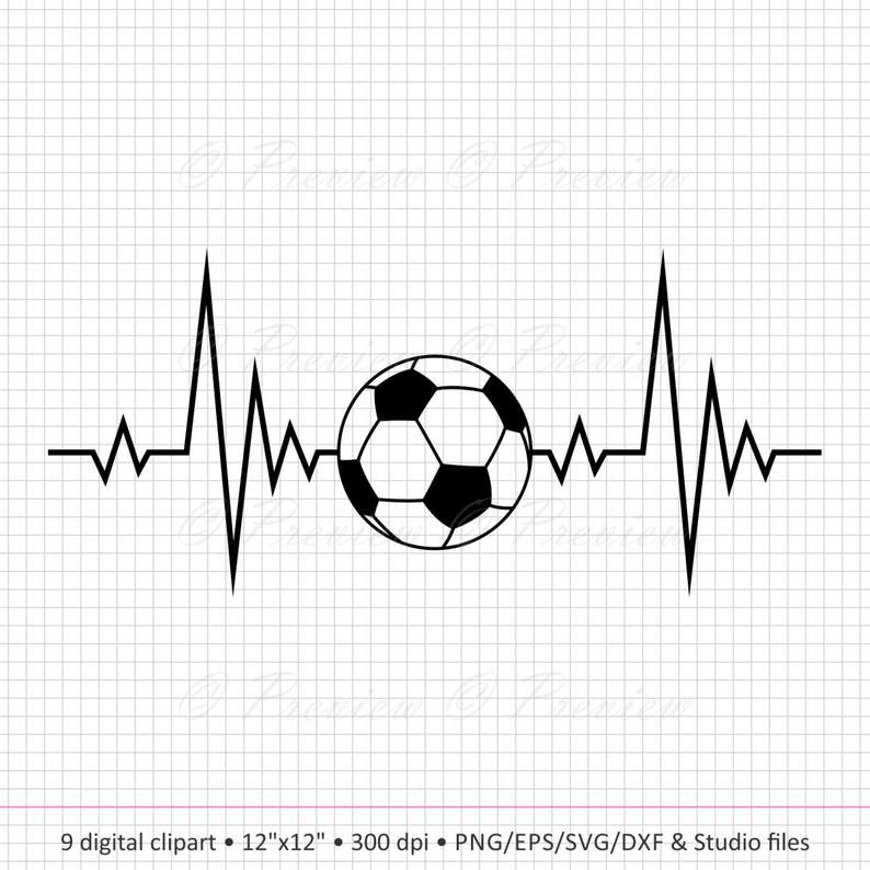 Buy 2 Get 1 Free Digital Clipart Sport Heartbeat Monogram Etsy In 2020 Soccer Tattoos Football Tattoo Digital Clip Art Set