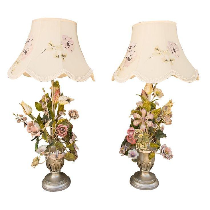 Vintage+italian+lamps | Vintage Italian Floral Tole Lamps