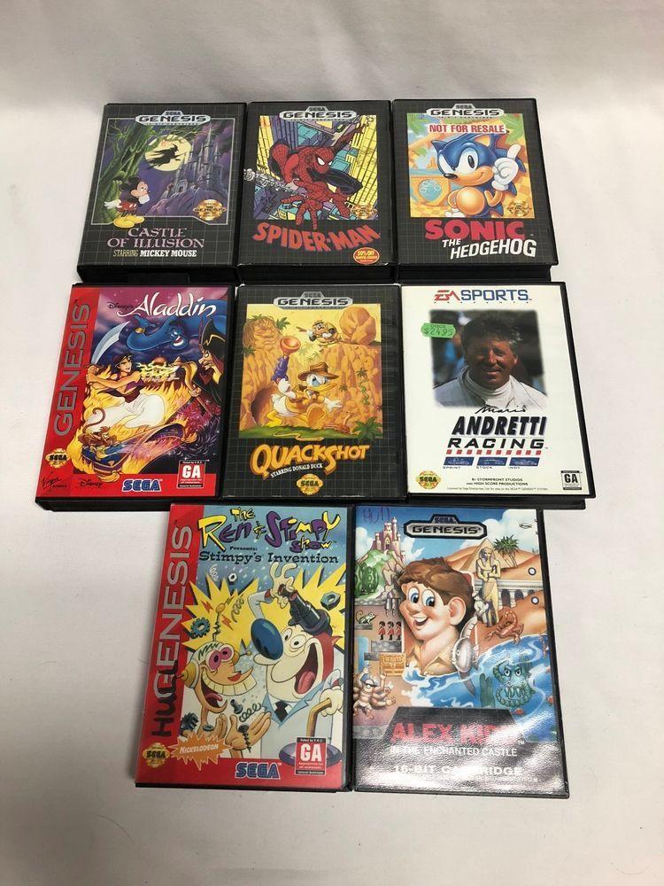 Sega genesis empty box lot aladdin sonic spiderman ren