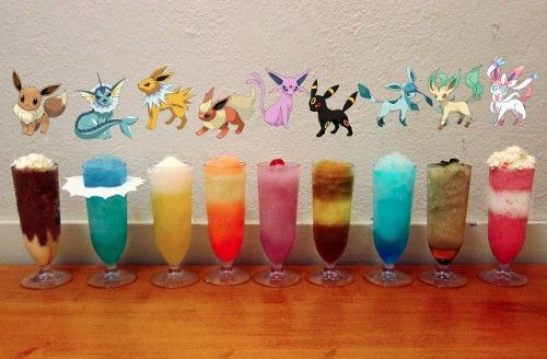 Eevee: cake vodka, Kahlua, Bailey's, choc eclair ice cream bar, choc syrup Vaporeon: rum, Malibu, blue curacao, pineapple juice, Sprite Jolteon: tequila, red bull, margarita mix, lemon juice, Sprite, salt rim Flareon: fireball whiskey, peach schnapps, iced tea, lemonade, dash of strawberry syrup (for color) Espeon: strawberry vodka, Hpnotiq Harmonie, Chambord, cranberry juice, Sprite Umbreon: bourbon, coke, lemon juice, orange juice