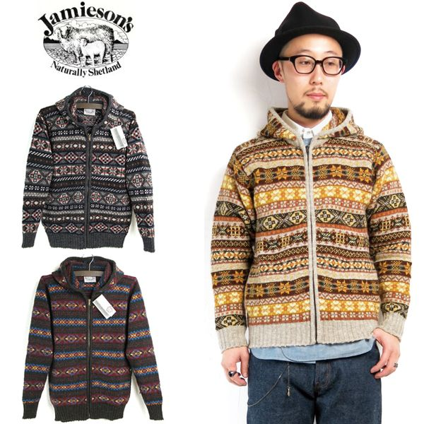 Jamieson's «Jameson» #MK180zip Men's Fairisle Hooded Knit Cardigan ...