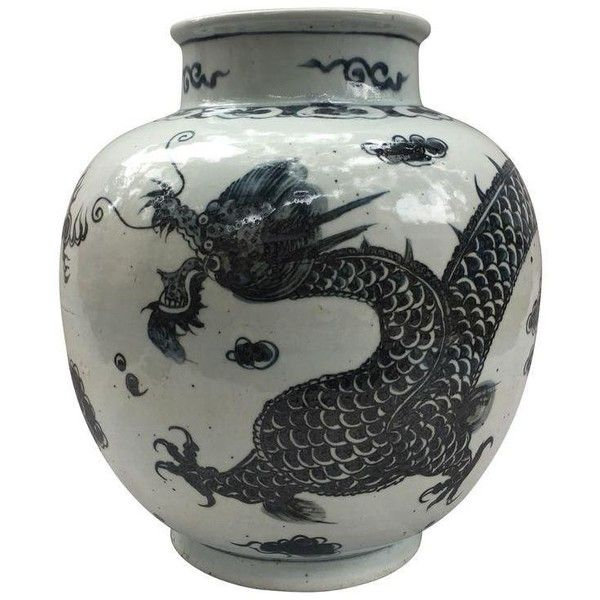 Chinese Black White Dragon Urn 395 Liked On Polyvore