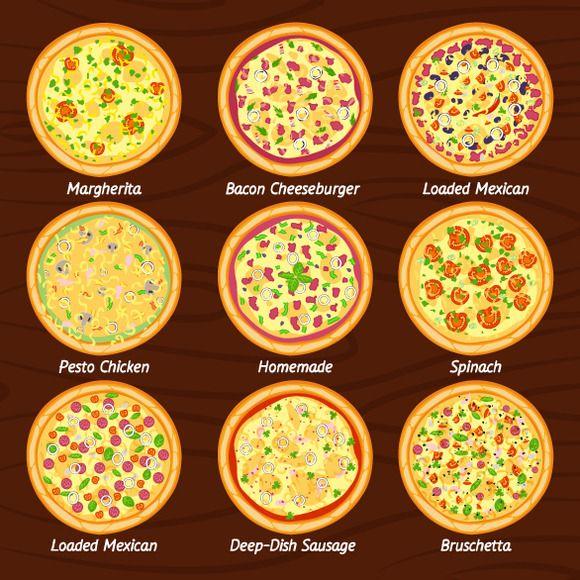 Set of pizza flat icon @creativework247