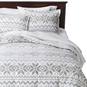Holiday Flannel Duvet Cover Set Gray Fair Isle Snow I
