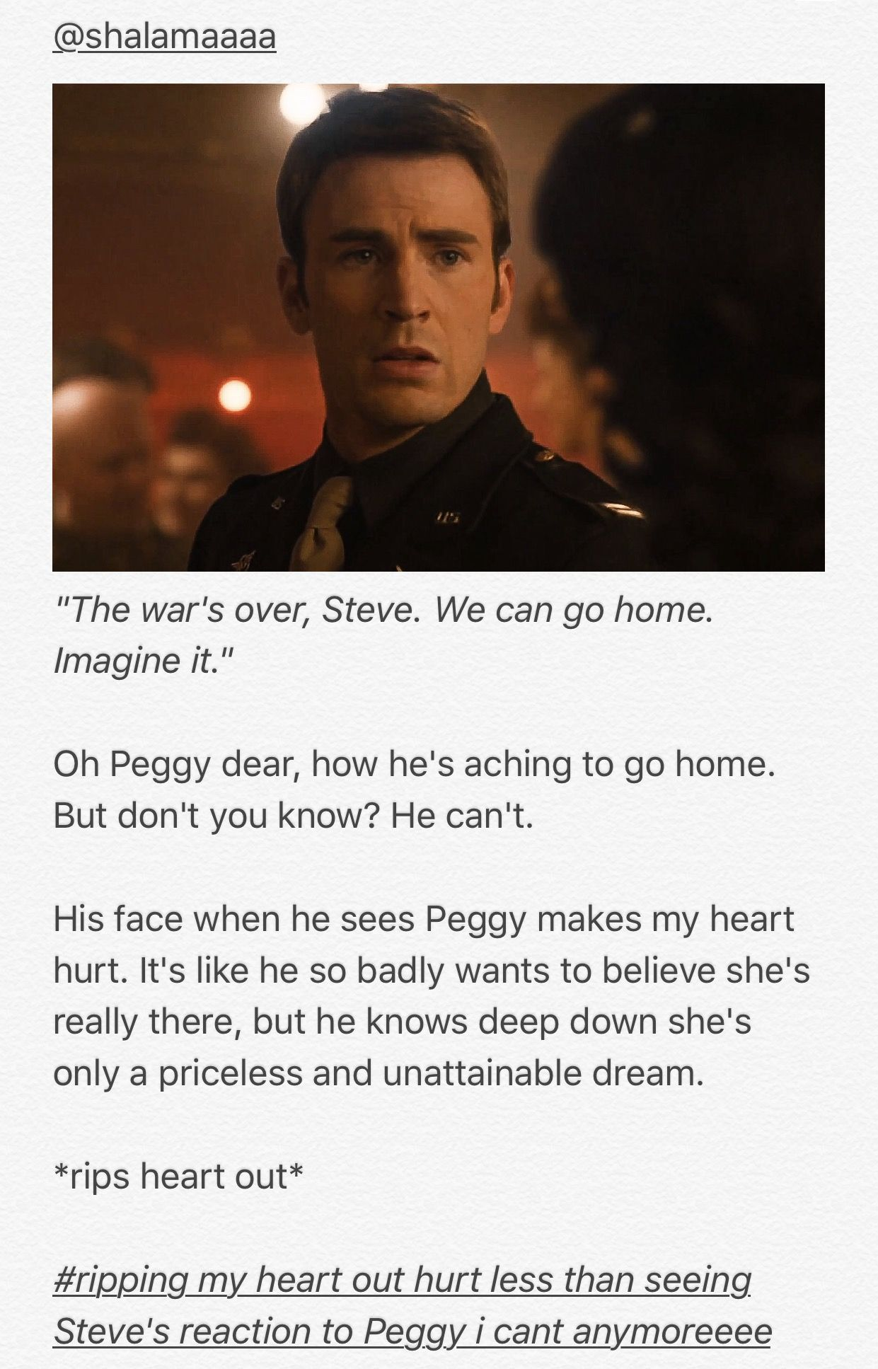 Steve's devastating reaction to seeing Peggy in his dream. | Captain America Peggy Carter Steggy Age Of Ultron Avengers Wanda Dream MCU Marvel