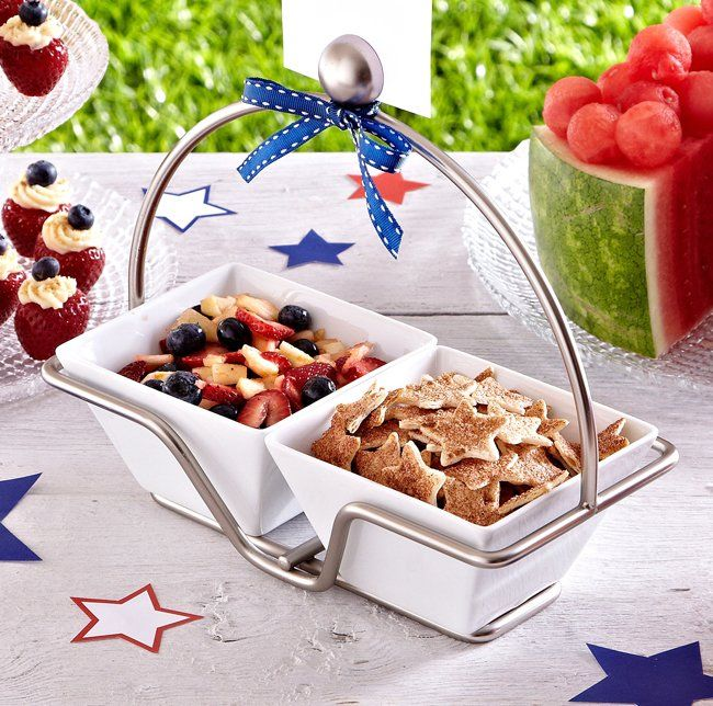 Switch out the spicy stuff for our sweet, apple-based salsa and Baked Cinnamon Chips. Just sub blueberries for kiwi, and you've got the perfect appetizer for your Independence Day barbecue!