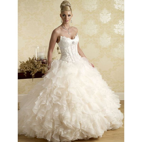 Multi-layer Organza/ Tulle Princess Ball Gown Strapless Embroidery... ❤ liked on Polyvore