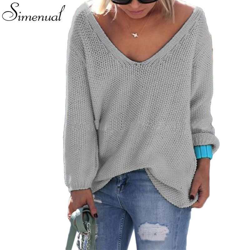 Simplee Vintage lace up nude thin sweater women Autumn winter loose knitted  v neck sweaters Sexy pullover long sleeve jumpers