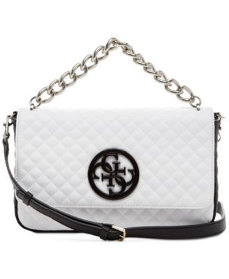 GUESS G Lux Crossbody Flap  73.50 Go for a contemporary cool look with this  faux-leather bag by GUESS df04fd30c8617