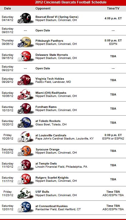 Cincinnati Bearcats Football 2012 Schedule Auburn Tigers Football