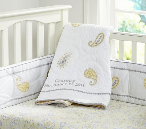 Courtney Yellow Paisley Nursery Bedding With Shades Of