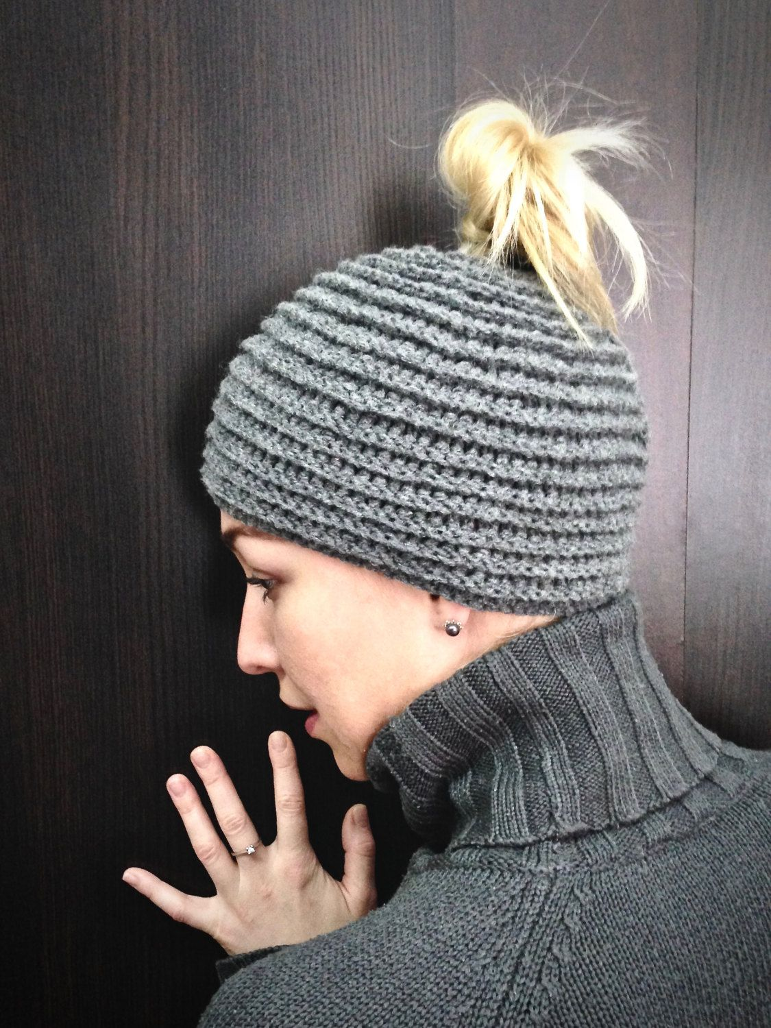 8f0d49e4a Gray, Ladies hat, Beanie hat for women, Ponytail beanie, Winter hat ...
