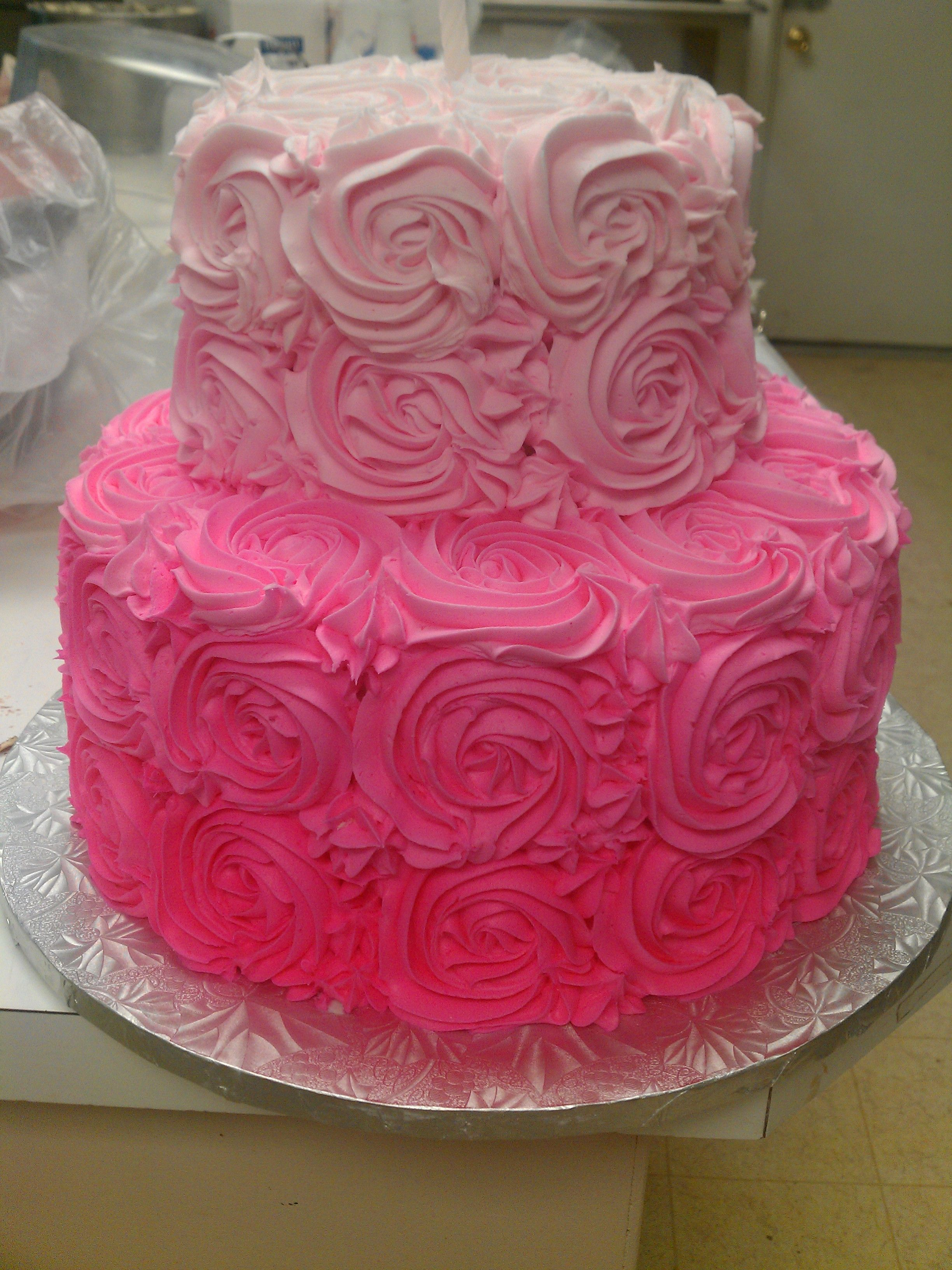 Pink Rosettes Cake Dee S Delights Cake And Cookie