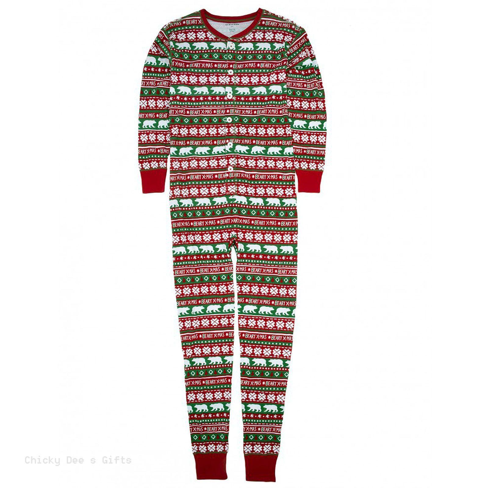 Hatley Adult Union Suit BEARY XMAS sleep top PJ Christmas