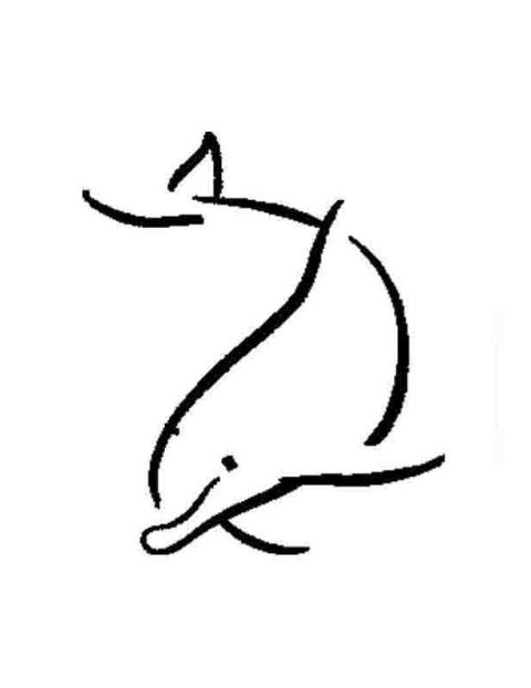 Dolphin outline tattoo - photo#30
