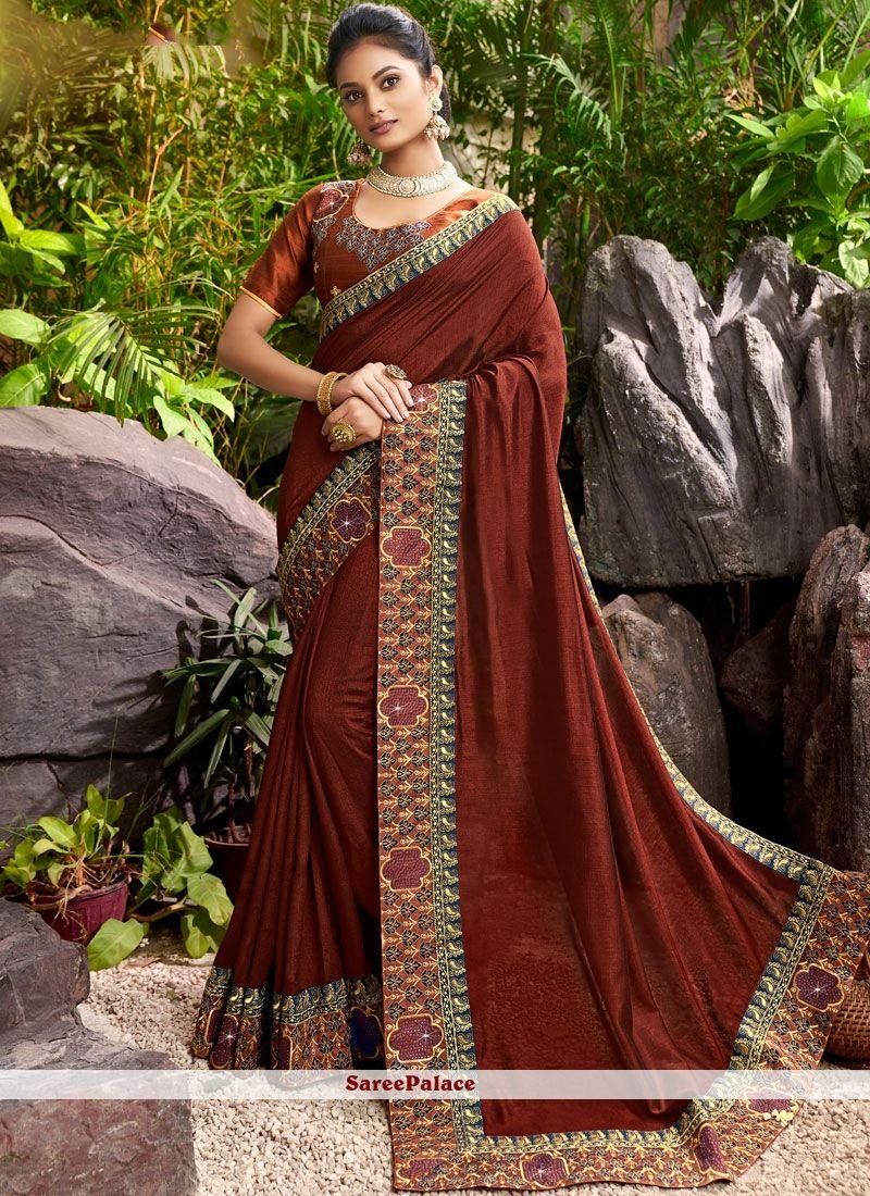 Buy Wine Embroidered Chanderi Designer Saree Online In 2020 Saree Designer Sarees Online Saree Designs