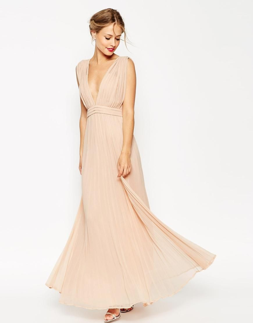 ASOS  ASOS WEDDING Deep Plunge Super Full Pleated Maxi Dress at