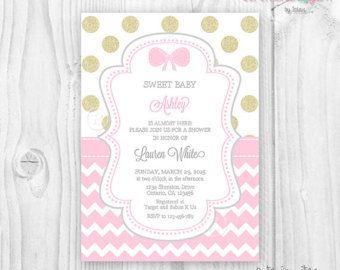 Pink and gold baby shower invitation Baby shower girl