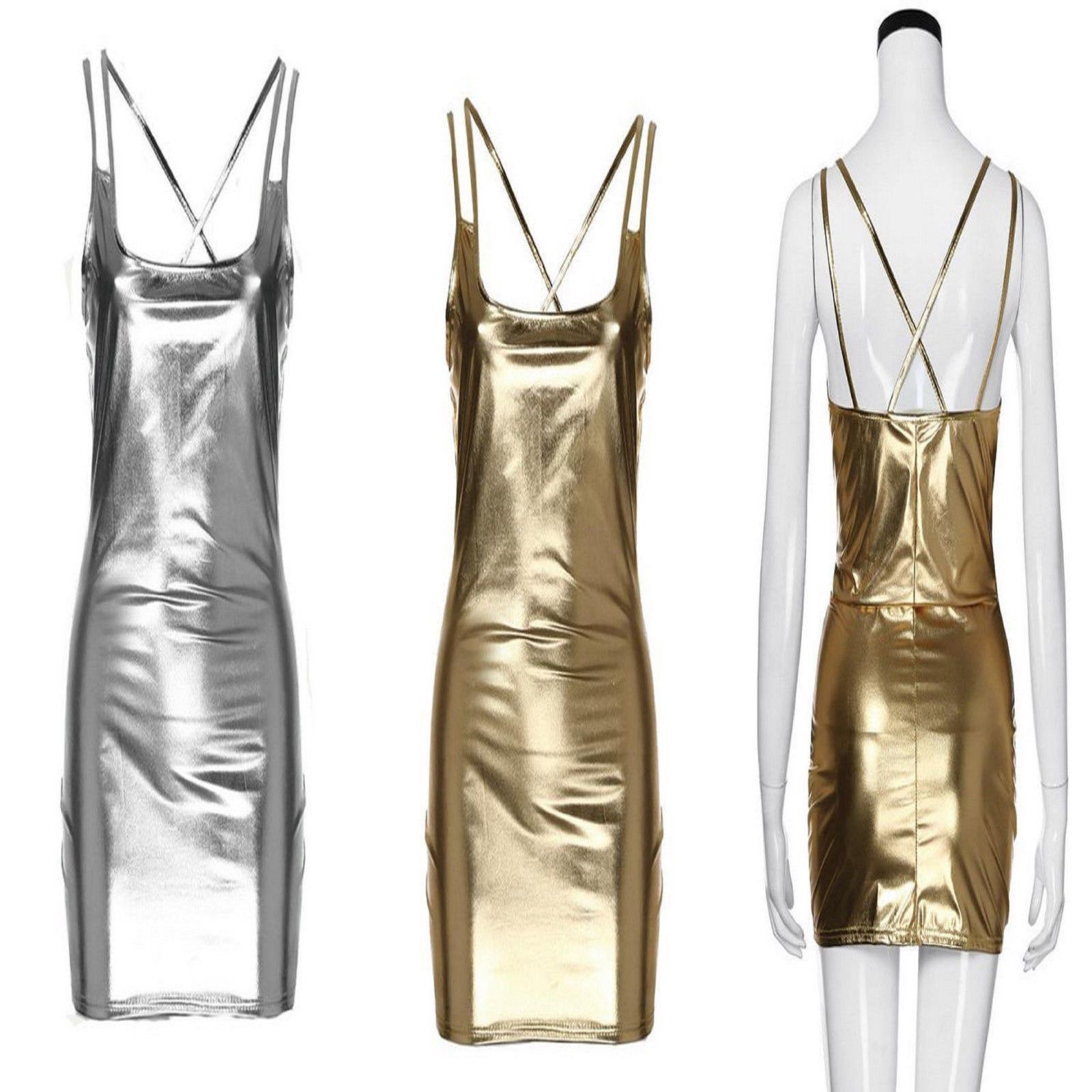 033f121d5d8 GOLD SILVER METALLIC WET LOOK PVC LYCRA BODYCON STRAPPY CLUBWEAR DRESS SIZE  8 S