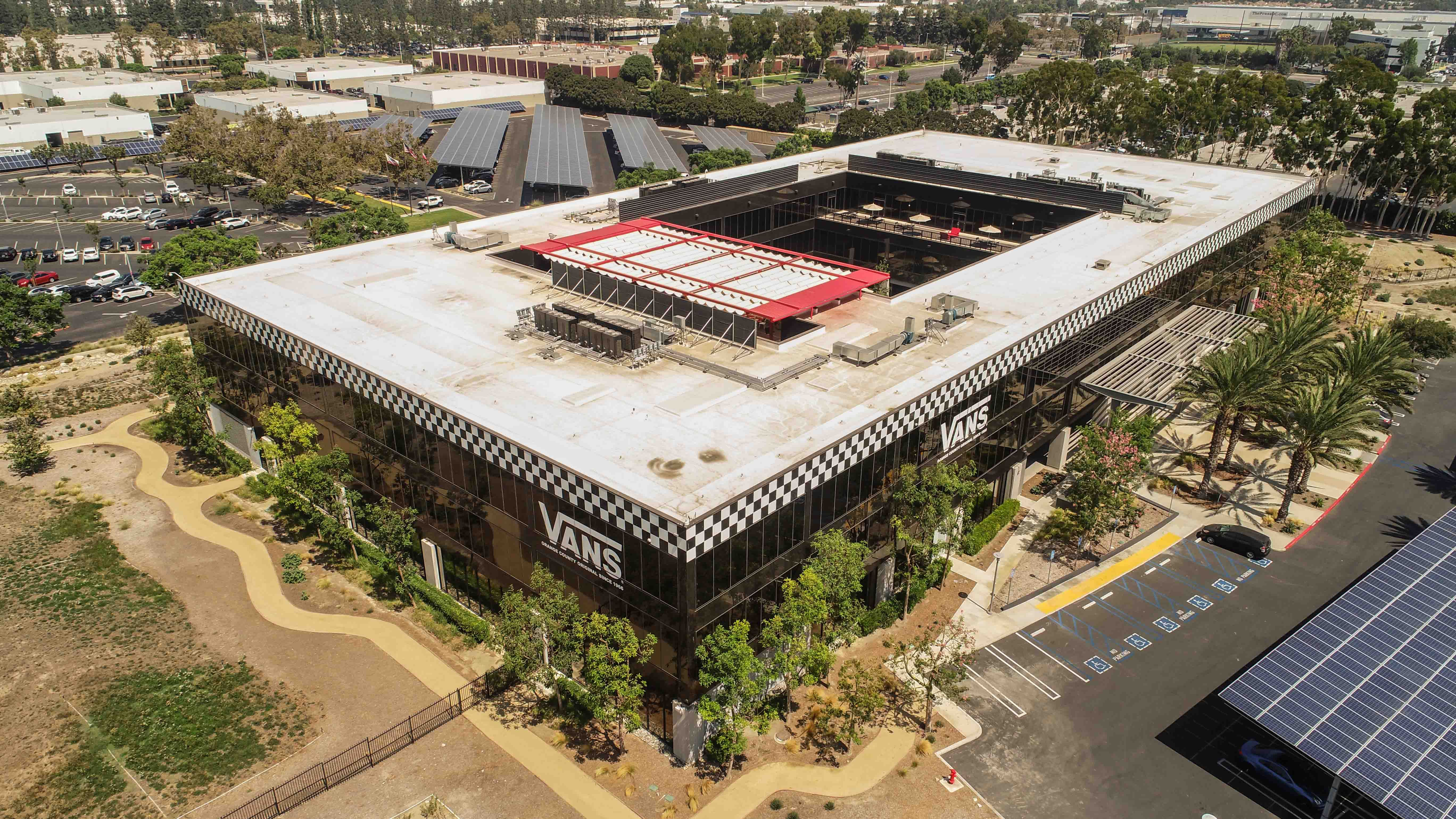 Expansive Rooftop Canopy Shielding The Employee Lounge At The New Vans Hq In Costa Mesa Ca Aerial Photo Aerial Photo Rooftop Canopy