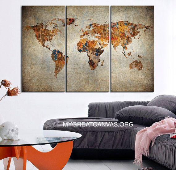3 panel world map canvas print 3 piece atlas canvas by edecorshop 3 panel world map canvas print 3 piece atlas canvas by edecorshop gumiabroncs Image collections